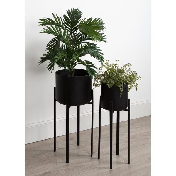 Coates Decorative Indoor 2 Piece Metal Pot Planter Set with Stand by Wrought Studio