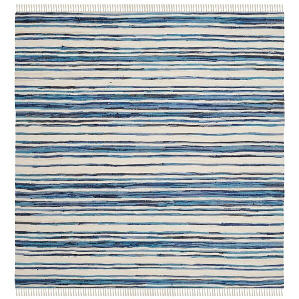 Shinn Hand-Woven Ivory/Blue Area Rug by Wrought Studio