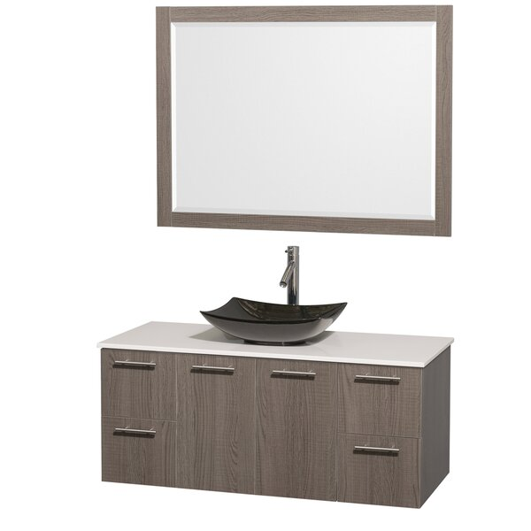Amare 48 Single Gray Oak Bathroom Vanity Set with Mirror by Wyndham Collection