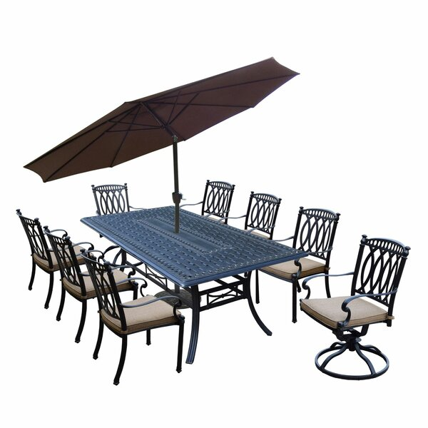 Morocco Aluminum 9 Piece Dining Set with Cushions and Umbrella by Oakland Living
