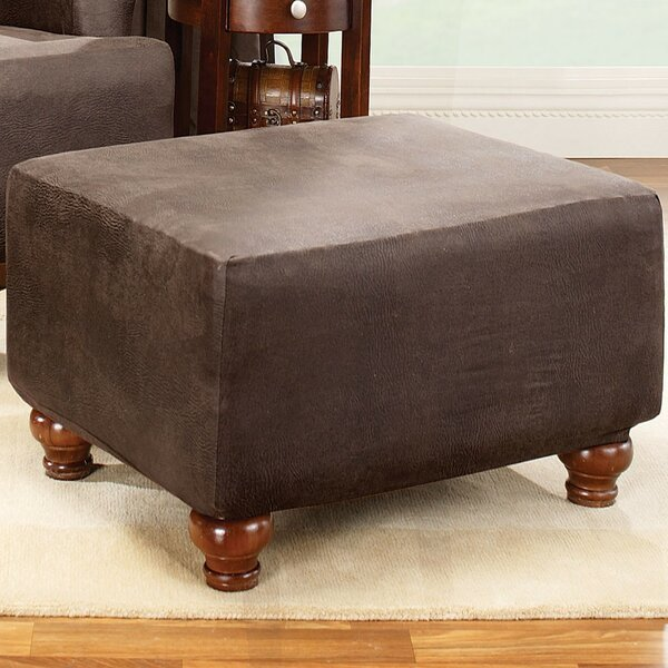 Stretch Leather Box Cushion Ottoman Slipcover By Sure Fit