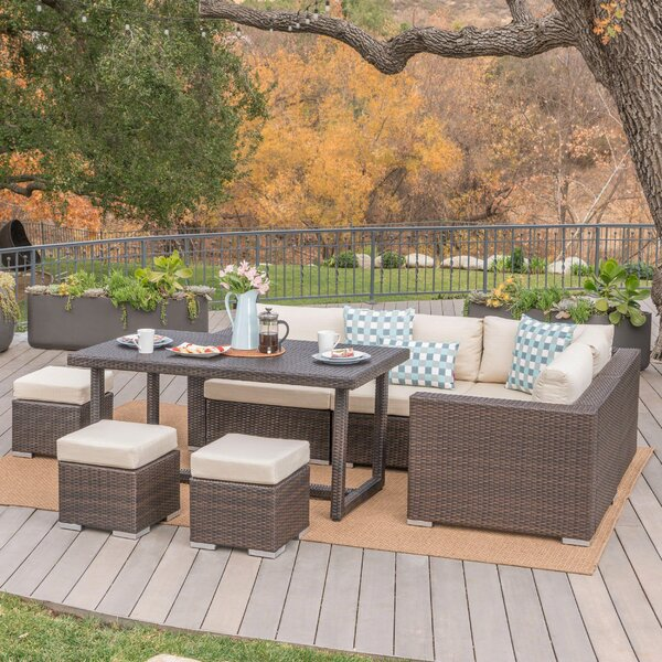 Cabral Rattan Sectional Seating Group with Cushions by Sol 72 Outdoor