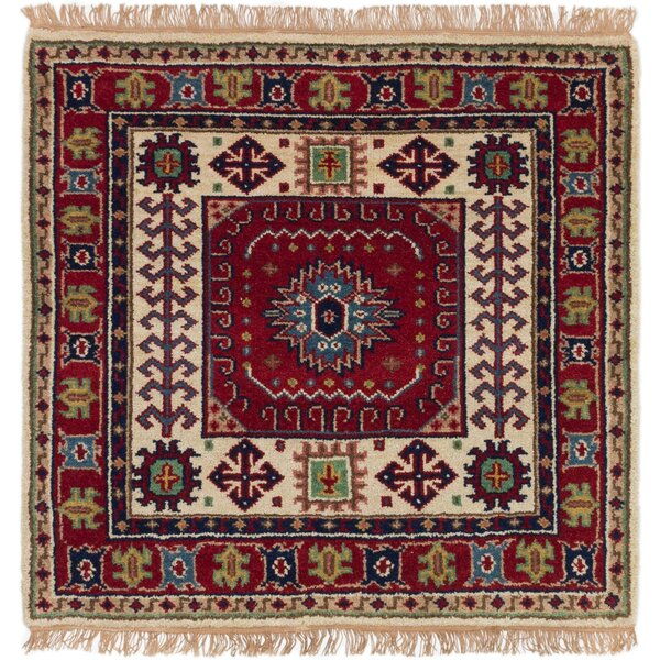 One-of-a-Kind Doering Hand-Knotted Wool Red Area Rug by Isabelline