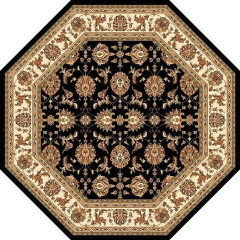 Bellville Kashan Hand-Woven Black/Ivory Area Rug by Charlton Home