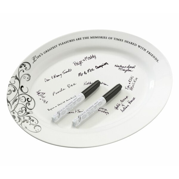 Oval Sign Platter with Pens by Lillian Rose