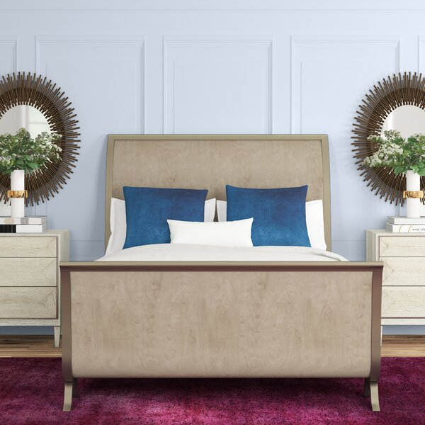 Mahogany Upholstered Sleigh Bed by Caracole Classic