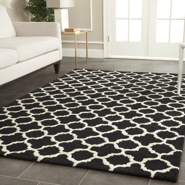 Martins Handmade Wool Black/Ivory Area Rug by Wrought Studio