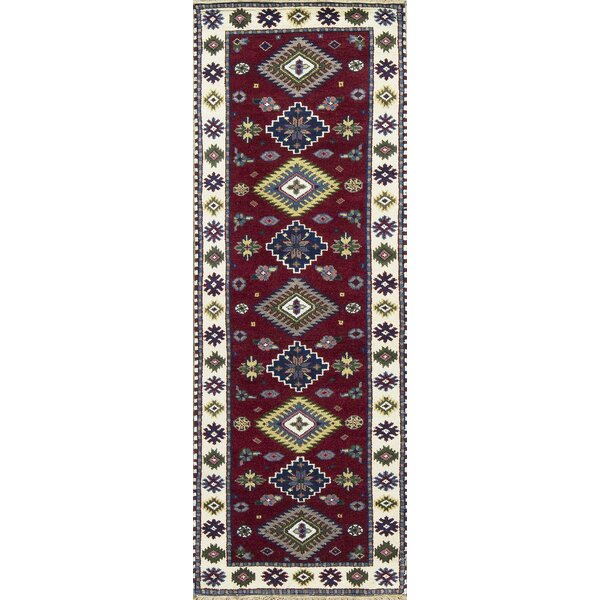 One-of-a-Kind Kazak Handwoven Wool Red/Cream Indoor Area Rug