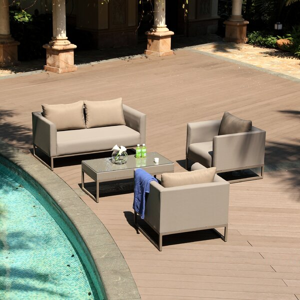 Tidworth 4 Piece Sectional Seating Group with Cushions by Everly Quinn
