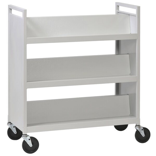 Double-Sided Sloped-Shelf Book Cart by Buddy Products