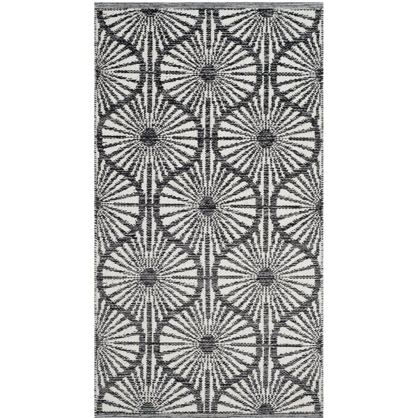 Oak Hill Hand-Woven Black/Ivory Area Rug by Wrought Studio