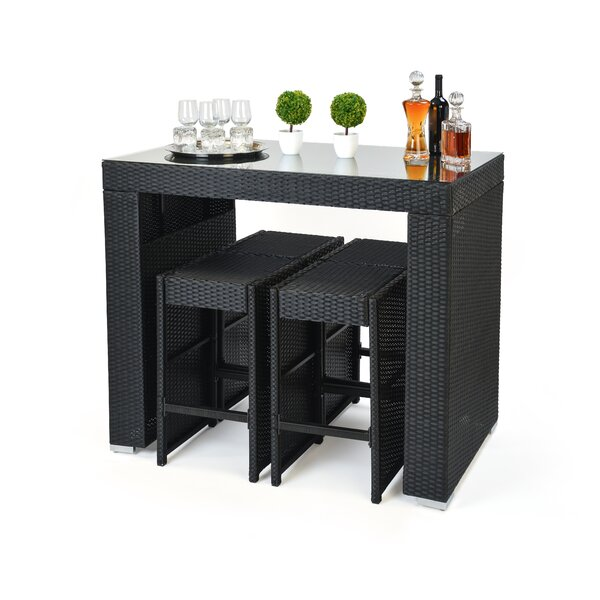 Trademark Innovations 5 Piece Dining Table And Bar Stool Set U0026 Reviews |  Wayfair