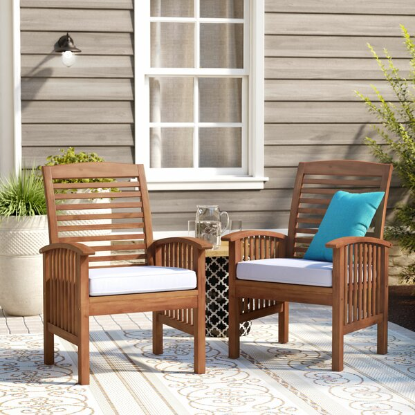 Tim Teak Patio Dining Chair with Cushion (Set of 2) by Birch Lane™ Heritage