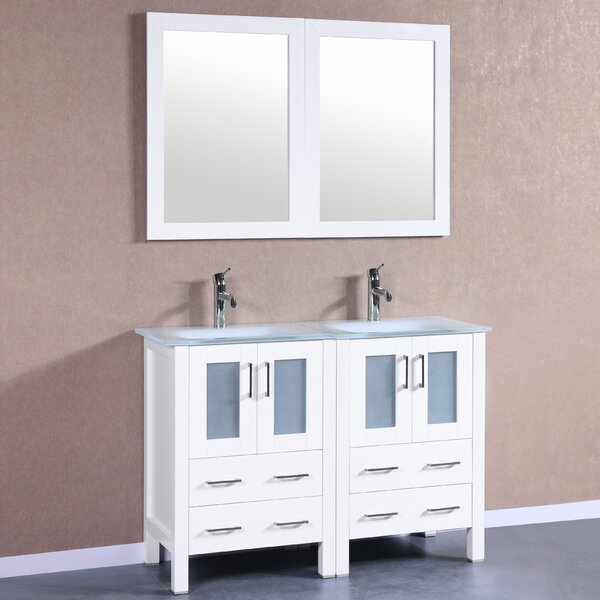 Halcomb 47 Double Bathroom Vanity Set with Mirror by Bosconi