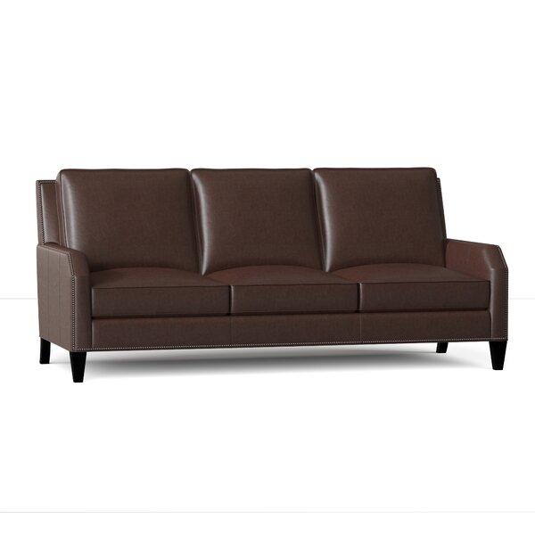 Caroline Genuine Leather 84.5 Square Arm Sofa