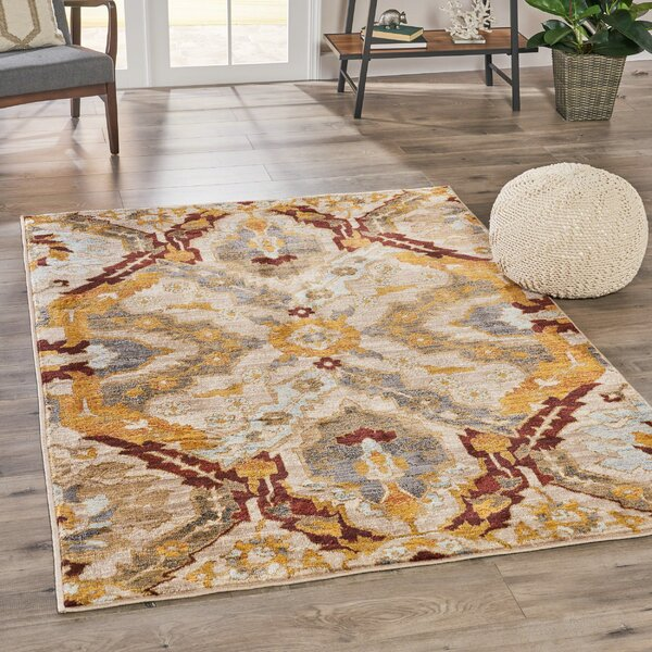 Rouleau Abstract Beige Area Rug by World Menagerie