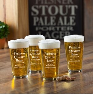 Premium Brew Printed Pub Beer Glasses (Set of 4) by JDS Personalized Gifts