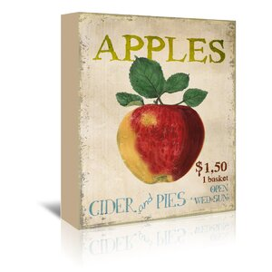 Apples, Cider and Pies Vintage Advertisement on Wrapped Canvas by August Grove