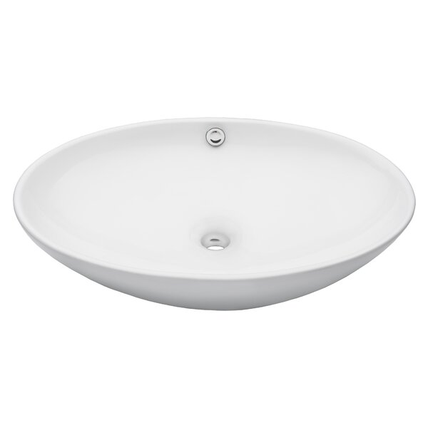 Ceramic Oval Vessel Bathroom Sink with Overflow by Novatto
