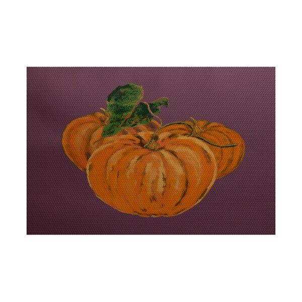 Tres Calabazas Holiday Print Orange Indoor/Outdoor Area Rug by August Grove