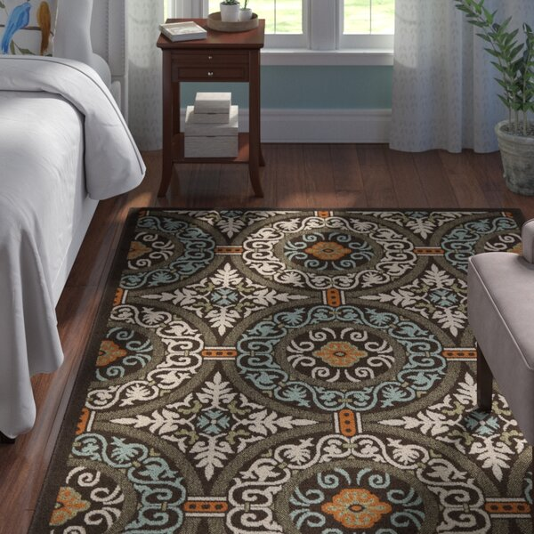 Tierney Chocolate/Aqua Area Rug by Andover Mills