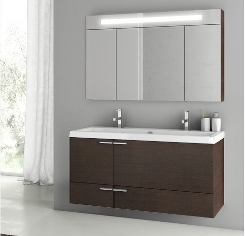 New Space 47 Double Bathroom Vanity Set with Mirror by ACF Bathroom Vanities
