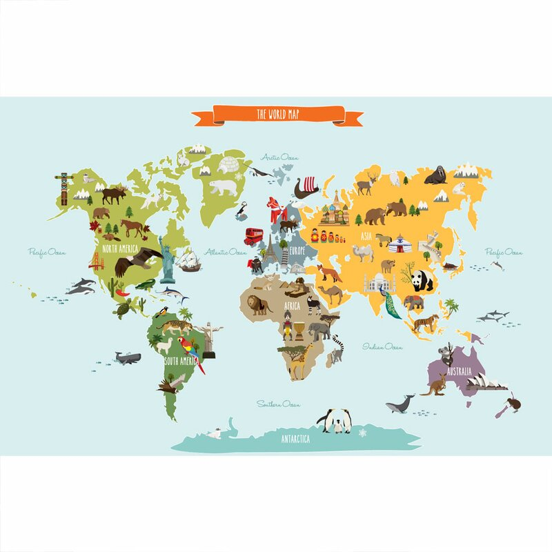 Simpleshapes childrens world map poster wall decal wayfair childrens world map poster wall decal gumiabroncs Image collections