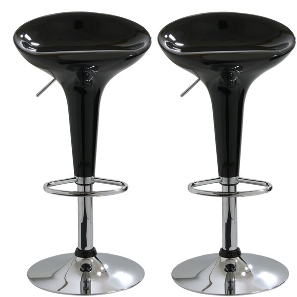 Geter Adjustable Height Swivel Bar Stool (Set of 2) by Orren Ellis