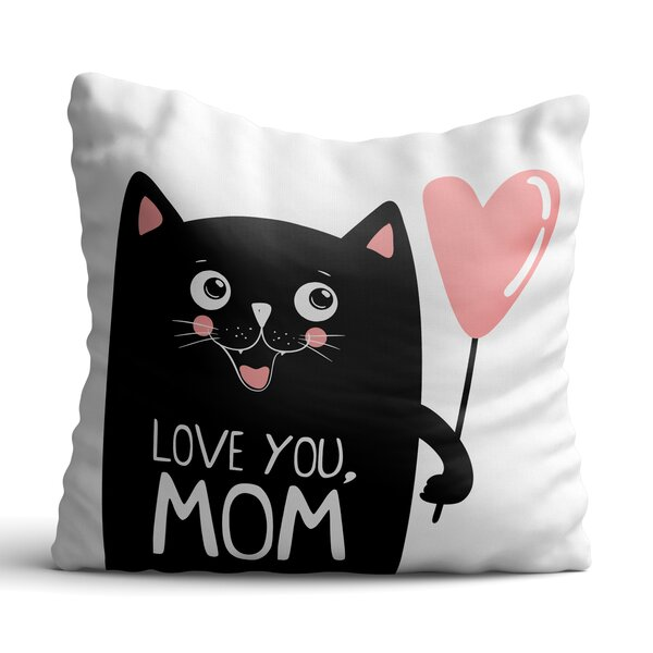 Huling Black Cat with Pink Balloon Throw Pillow by Zoomie Kids