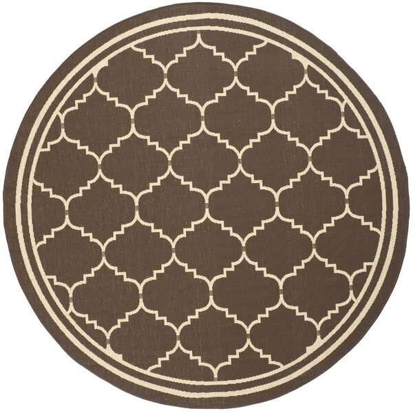 Short Chocolate/Cream Indoor/Outdoor Rug by Winston Porter