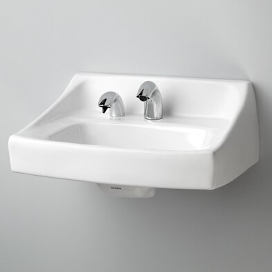 Commercial Vitreous China 21 Wall Mount Bathroom Sink with Overflow by Toto