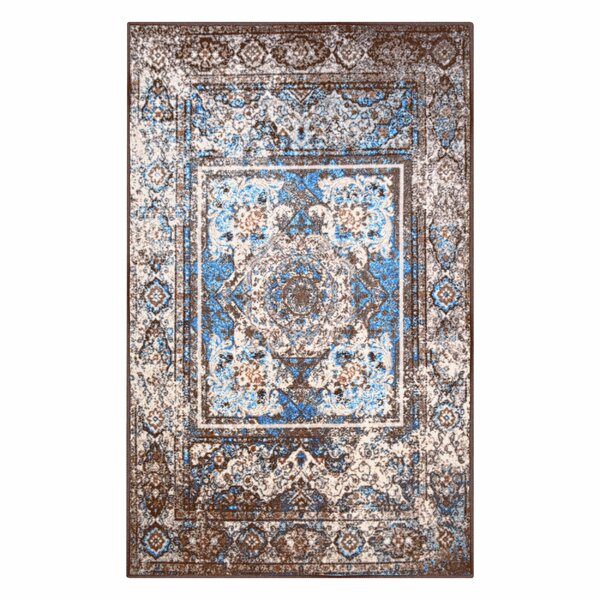 Elmhur Printed Non-Slip Brown/Blue Area Rug by World Menagerie