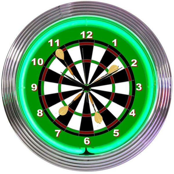 15 Darts Wall Clock by Neonetics