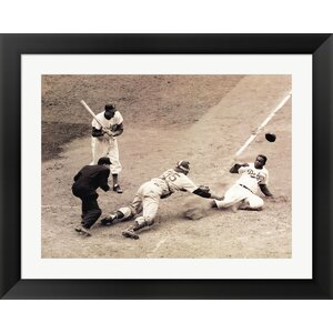 Jackie Robinson Stealing Home, May 18, 1952 by Bettmann-Corbis Framed Photographic Print by Evive Designs