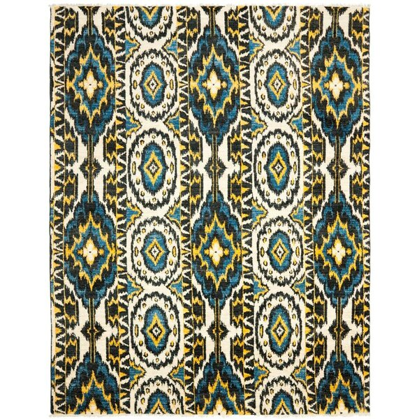 Almonburry Hand-Knotted Ivory/Blue Area Rug by World Menagerie