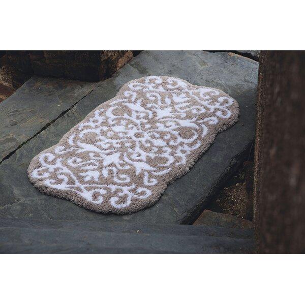 Natascha Rectangle 100% Cotton Non-Slip Damask Bath Rug