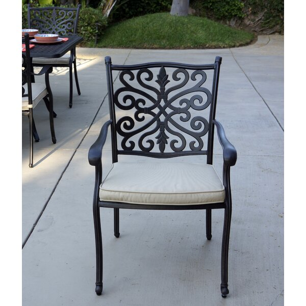 Belton Stacking Patio Dining Chair with Cushion (Set of 4) by Fleur De Lis Living