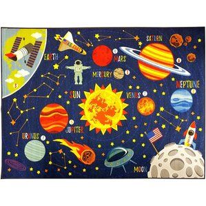 Nice Weranna Outer Space Safari Road Map Educational Learning Blue  Indoor/Outdoor Area Rug