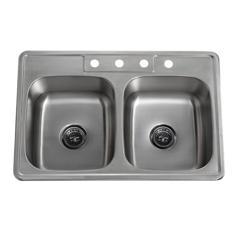 Stainless Steel Double Bowl Kitchen Sinks Soleil 33 x 22 stainless steel drop in double bowl kitchen sink 33 x 22 stainless steel drop in double bowl kitchen sink workwithnaturefo