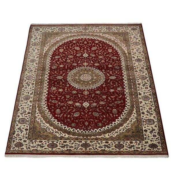 Ferrin New Zealand Oriental Hand-Knotted Wool Red/Cream Area Rug by Astoria Grand