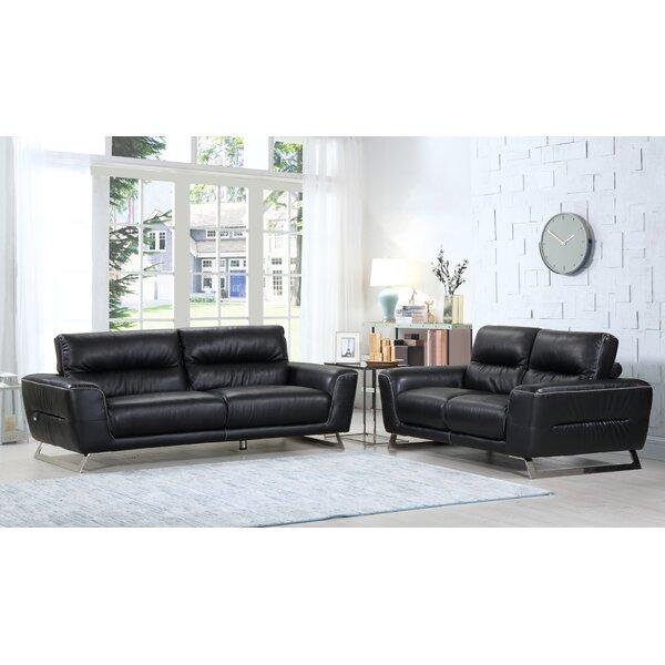 Hawkesbury Common Luxury Leather 2 Piece Living Room Set by Orren Ellis
