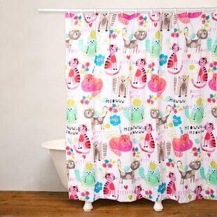 purrty cat shower curtain - Cat Curtains