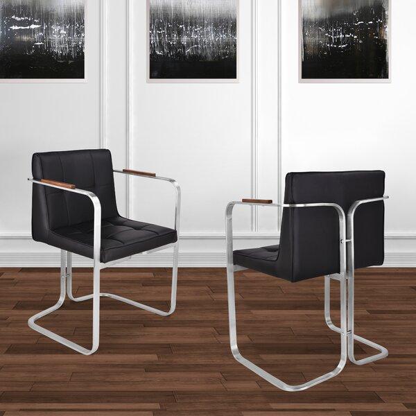 Vanwinkle Upholstered Arm Dining Chair In Black (Set Of 2) By Orren Ellis
