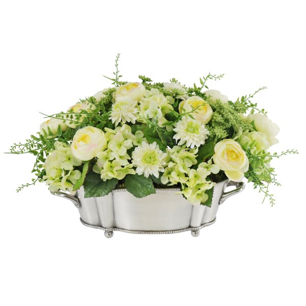 Ranunculu, Mum and Hydrangea Centerpiece Floral Arrangement in Decorative Vase by Jane Seymour Botanicals