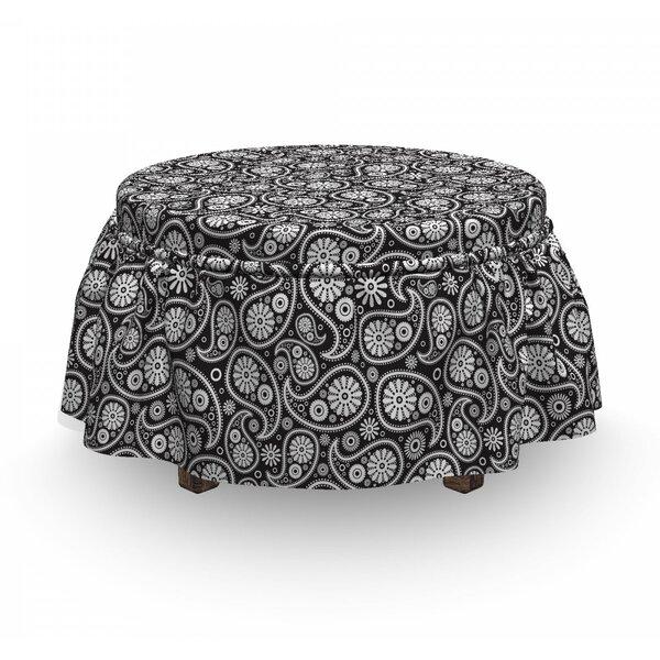 Paisley Art 2 Piece Box Cushion Ottoman Slipcover Set By East Urban Home
