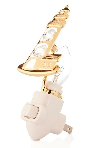 24K Gold Plated Lighthouse Night Light by Matashi Crystal