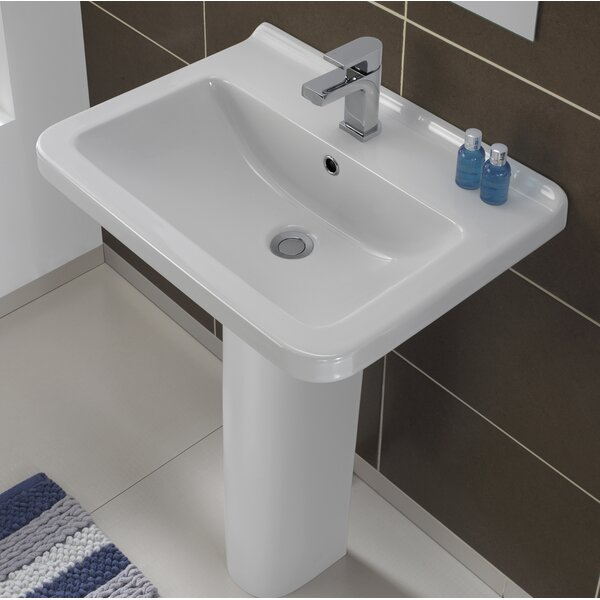 Erika Vitreous China 22 Pedestal Bathroom Sink with Overflow by Bissonnet