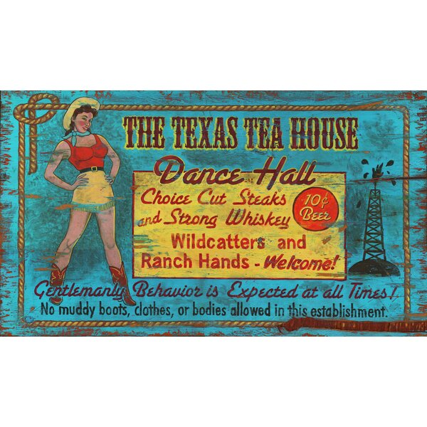 Texas Tea House Vintage Advertisement Plaque by Millwood Pines