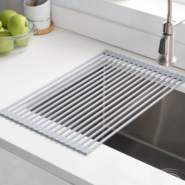 Silicone Coated Stainless Steel Over The Sink Multipurpose Roll Up Dish Rack By Kraus.