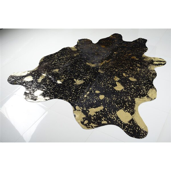 Alverson Metallic Cowhide Hand Woven Gold/Black Area Rug by Rosdorf Park